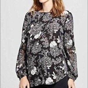 Isabel maternity black and white floral top